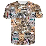RAISEVERN Unisex Funny Kittens with Glasses T Shirt Hipster Novelty T Shirts Tees L