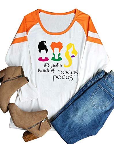 It's Just A Bunch of Hocus Pocus Shirt Women Halloween Sanderson Sisters Cute Top Tee (X-Large, Orange)