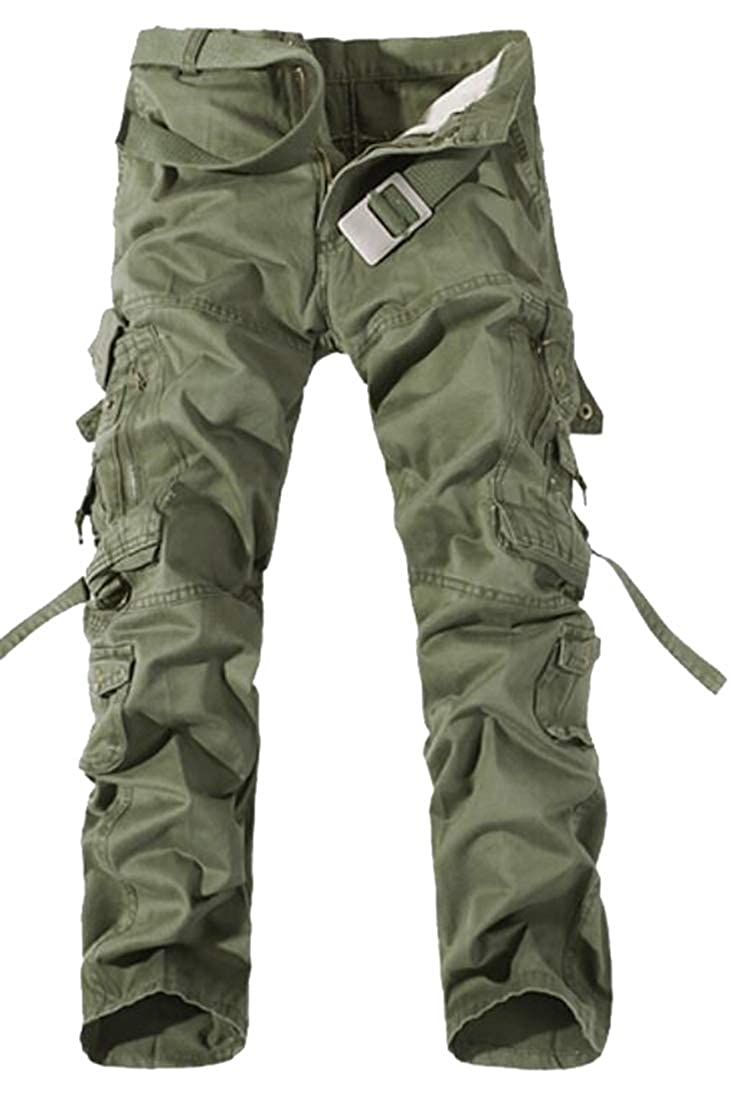 XQS Mens Cargo Pant Cotton Casual Military Army Cargo Camo Sport Work Pants