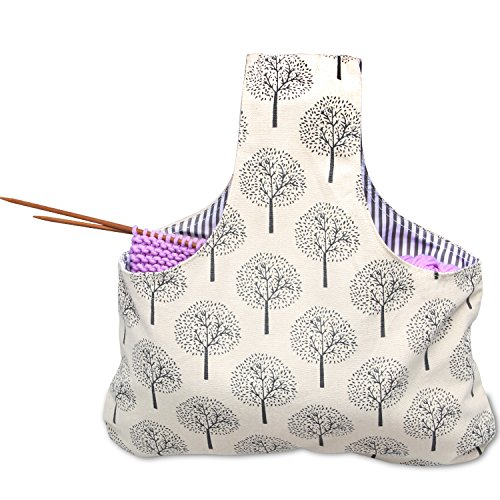 Teamoy Knitting Tote Bag, Travel Canvas Project Wrist Bag for Knitting Needles(14inches), Yarn and Crochet Supplies, Lightweight, Perfect Size for Knitting on The Go (Large, Tree) by Teamoy (Image #3)