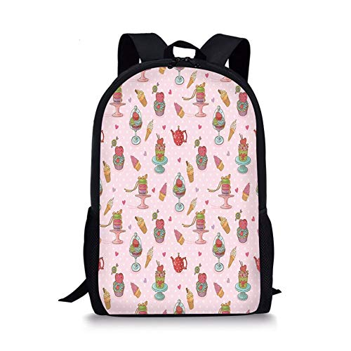 School Bags Ice Cream Decor,Retro Cupcakes Teapots Candies Cookies on Polka Dots Vintage Kitchen Print,Multicolor for Boys&Girls Mens Sport Daypack -