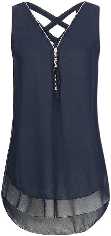 Luckycat Top Mujer Sin Mangas Camiseta Sin Espalda Blusa de Color Sólido Camisa Suelta Blusas Sexy Suave Cómodo Camiseta Blusa Suelto con Cremallera de Túnica de Mujer Tops de Manga Corta Sudadera: