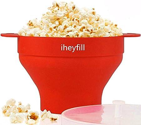 Popcorn popper,Cuenco plegable de silicona, con tapa y asas ...