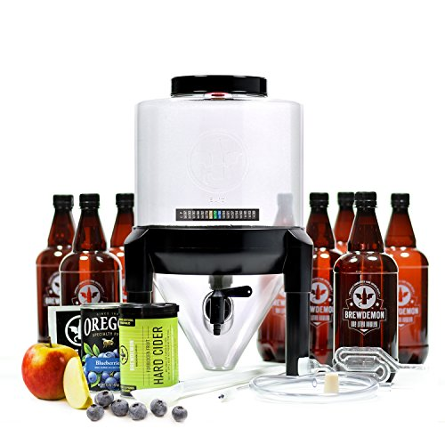 BrewDemon Hard Cider Kit Pro by Demon Brewing Company - NO SIPHON REQUIRED Easy To Use Hard Cider Starter Kit With Reusable Conical Fermenter, Equipment and Ingredients - Make Wicked-Good Hard Cider A