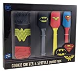 Wonder Woman, Superman and Batman Superhero Kitchen Spatula and Cookie Cutter Set - Officially Licensed DC Comics