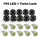 Partsam 10 Pack White PC168 Led Lighting Bulbs Instrument Cluster Twist Lock
