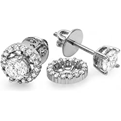 1.00 Carat (ctw) Round Diamond Halo Stud Earrings with Removable Jackets