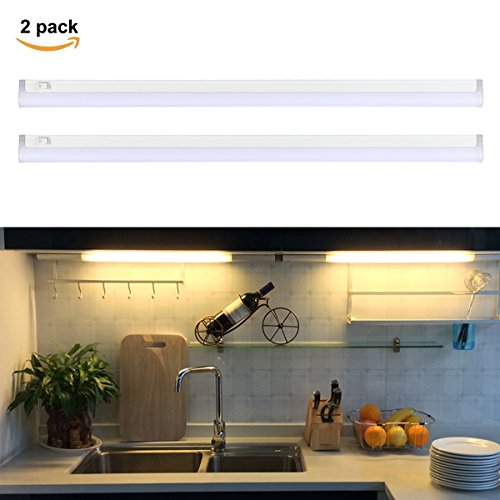 S&G LED Under Cabinet light Bar T5 Integrated Single Fixture Linkable Led Light Tube Ultra Slim 17.8 inches 3000K 1040 LM Great for Kitchen Counter Lighting - 2 Light Under Cabinet Fixture
