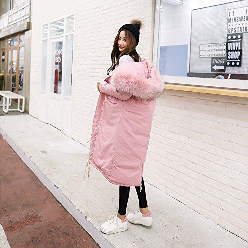 Women Jacket Large Fur Drawstring Collar Thickening Paragraph Cotton Large Cotton Loose Pink Xuanku Cotton Long Clothing Jacket IwZ7qE