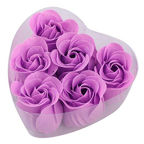 Plastic Heart Box (6 Pcs Plastic Heart Shape Box Purple Flower Bathing Soap Rose Petals)