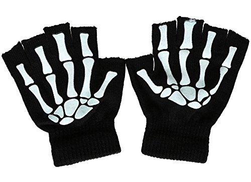 Skeleton Costume Accessories (Men and Women's Glow in the Dark Skeleton Print Half Finger Knit Skull Gloves)
