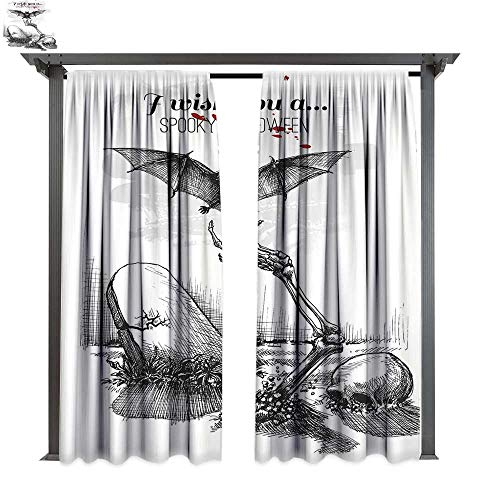 Halloween Decorations, Fashions Drape, Dead Skull Zombie Out Grave and Flying Bat Hand Drawn Spooky Picture, Outdoor Curtain Waterproof Rustproof Drape (W96 x L108 Inches Black White ()