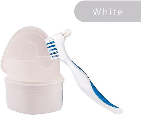 WAOBE Denture - Recipiente dental + cepillo, caja ortodoncia, caja de baño, guardabarros higiénico para guardar aparatos dentales deportivos, blanco: Amazon.es: Deportes y aire libre