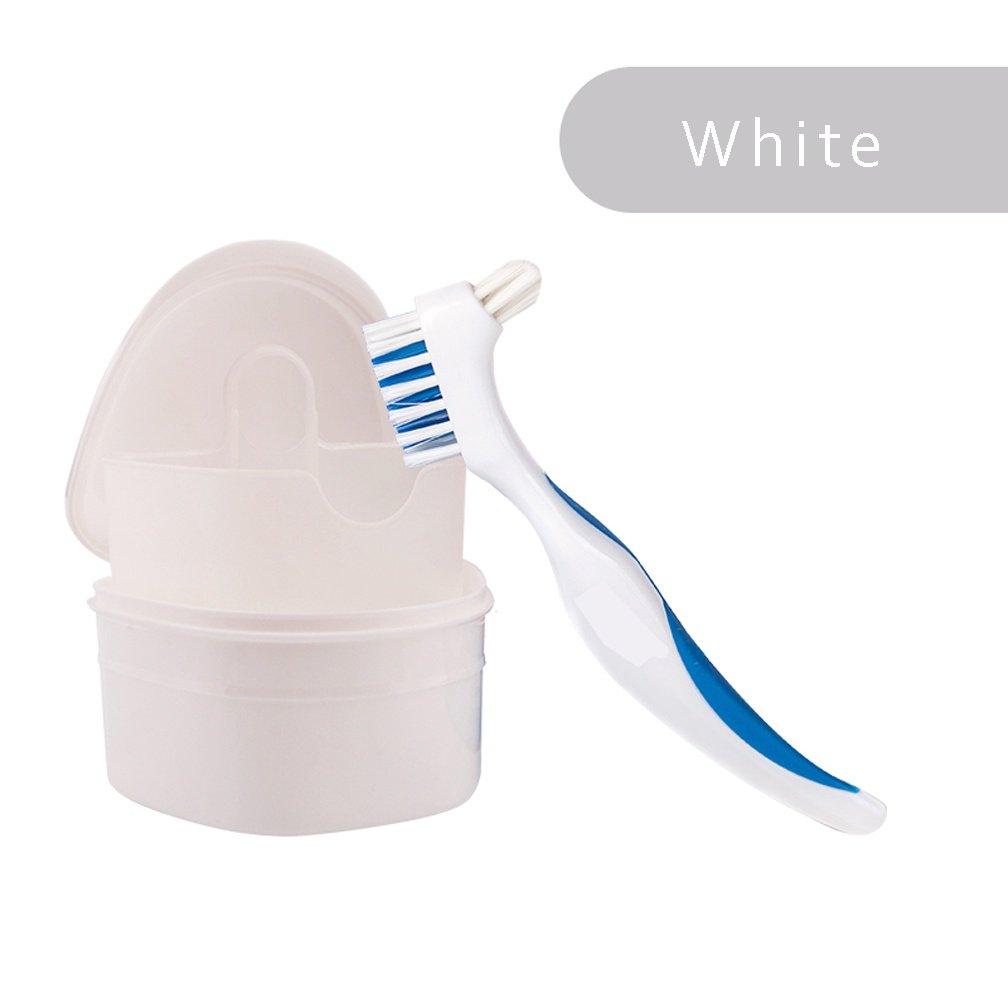 WAOBE Dentadura Dental Contenedor + Cepillo - Estuche de Ortodoncia Caja de Baño de Dentadura Protectores Bucales Contenedores de Almacenamiento Higiénicos ...