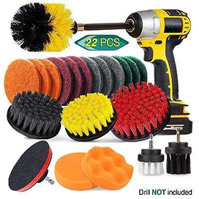 22 Piece Drill Brush Attachment Set, JUSONEY Power Scrubber Drill Brush Kit, Scrub Brush With Extend Long Attachment, Scrubing Pads Cleaning Kit For Tile Sealants, Bathtub, Sinks, Floor, Wheels, Carpe