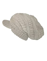 CTM® Women's Throwback Chunky Knit Slouchy Beanie Hat, Camel