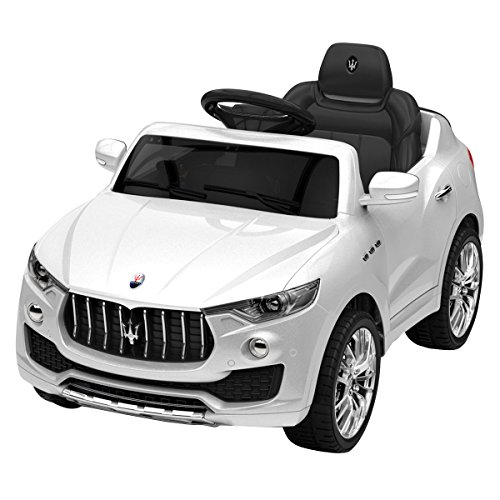 Costzon Kids Ride On Car, Licensed Maserati 6V Battery Powered Vehicle, Parental Remote Control & Manual Modes w/Opening Doors, Swing Function, Bluetooth, USB, MP3, Horn, Music, LED Lights, White