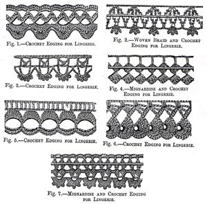 (1879 Woven Braid, Mignardise, and Crochet Edgings for Lingerie Instructions/Pattern)