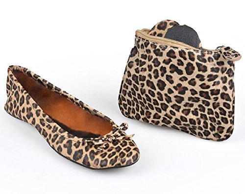 Sidekicks Womens Leopard Print Foldable Ballet Flats with Carrying Case