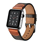 For Apple Watch Band 42mm Premium Leather Soft iwatch Strap Replacement Band with Stainless Metal Clasp for Apple Watch Series 3 Series 2 Series 1 Sport and Edition Black (42MM)