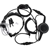 AOER Military Grade Tactical Throat Mic Headset / Earpiece with BIG Finger PTT for Motorola Talkabout 2 Two Way Radio Walkie Talkie 1 Pin Jack