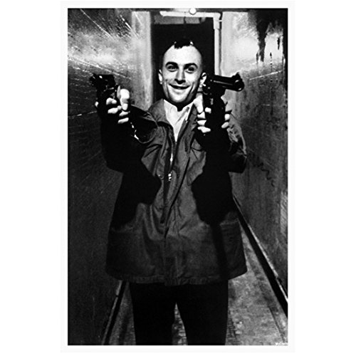 Taxi Driver Robert DeNiro as Travis Bickle aiming a gun black and white 8 x 10 Inch - Taxi Celebrity