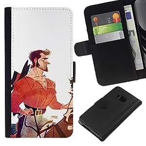 All Phone Most Case / Oferta Especial Cáscara Funda de cuero Monedero Cubierta de proteccion Caso / Wallet Case for HTC One M7 // Hero Horseman Cowboy White Red