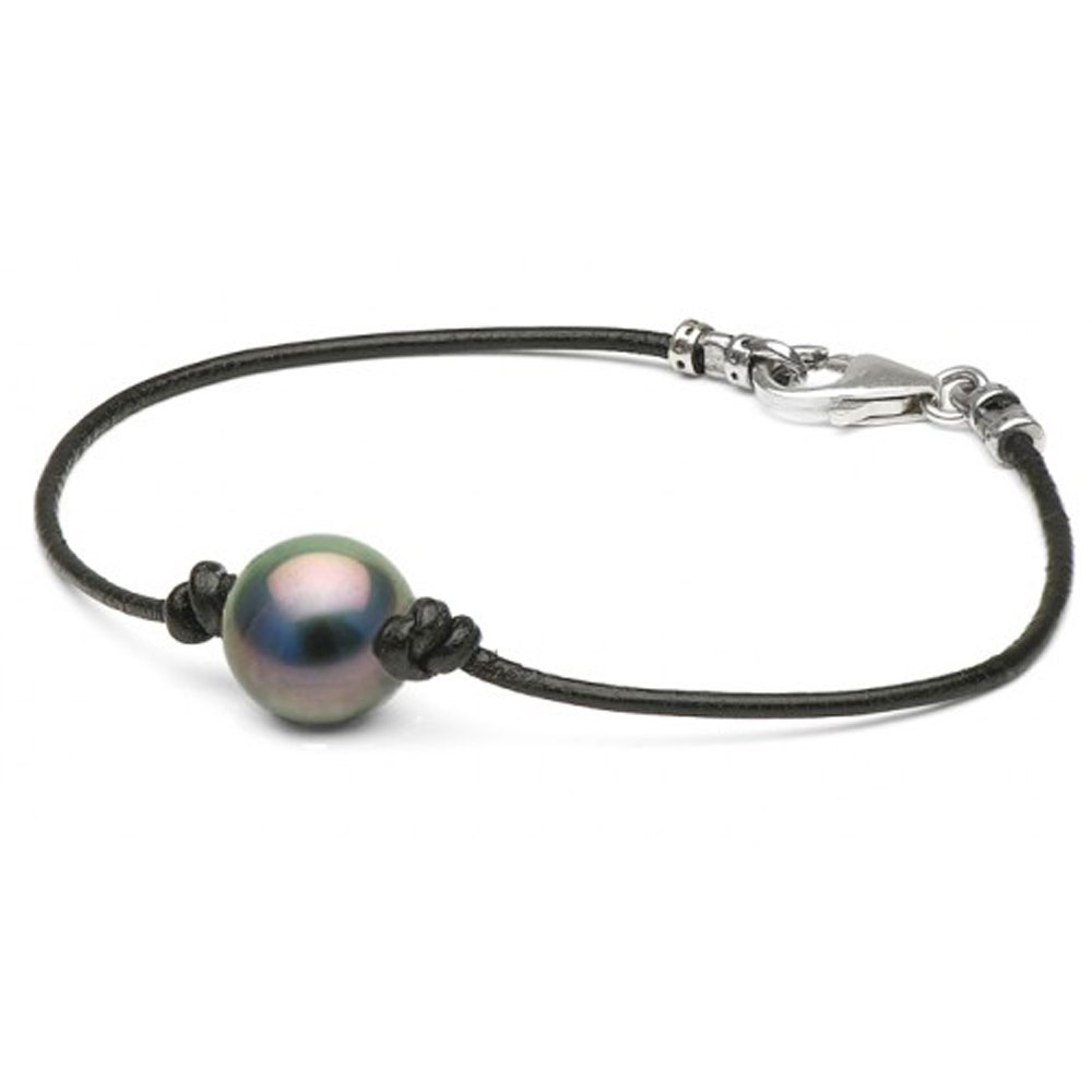 .925 Cultured Black Tahitian Round Pearl on Black Leather Bracelet, 10.0-11.0mm - 9.0-Inches, AAA Quality, Sterling Silver Clasp
