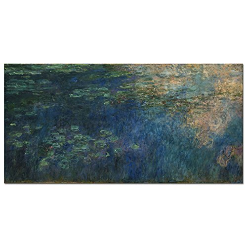 Monet Water Lilies Oil Painting - Wieco Art Reflections of Clouds on the Water Lily Pond Giclee Canvas Prints Wall Art of Claude Monet Oil Paintings Large Modern Artwork Pictures Ready to Hang for Bedroom Home Office Decorations L