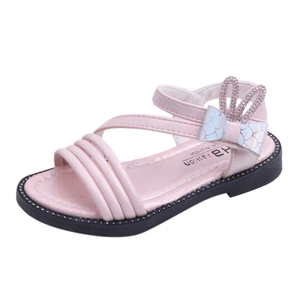 WINJIN Sandales Enfant Fille Chaussure d/ét/é b/éb/é Fille Lapin Cristal Bowknot Cuir Souple Princesse Sandales Chaussures Enfant en Bas /âge Enfants b/éb/é Filles 26-36