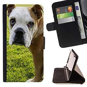 - Bulldog Bull Dog Pet Puppy/ Personalizada del estilo del dise???¡Ào de la PU Caso de encargo del cuero del tir????n del soporte d - Cao - For Samsung ALPHA G850