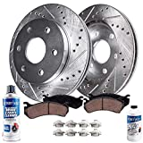 Saab 9-4X Performance Brake Kits - Detroit Axle - Pair (2) Rear Drilled and Slotted Disc Brake Kit Rotors w/Ceramic Pads w/Hardware & Brake Kit Cleaner & Fluid for 2010 2011 2012 2013 2014 2015 Cadillac SRX - [2011 Saab 9-4X]