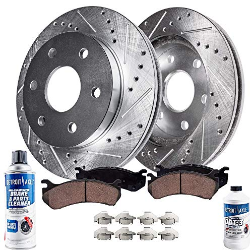 Detroit Axle - Drilled & Slotted Front Brake Rotors & Ceramic Pads w/Clips Hardware & BRAKE CLEANER & FLUID for 07-18 Escalade, ESV, Tahoe, Yukon - [08-18 Sierra/Silverado 1500] - [15-18 Suburban]