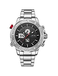 WEIDE Men's Sport Military Analogue Digital Quartz Stainless Steel Watch with Dual Time Auto Date
