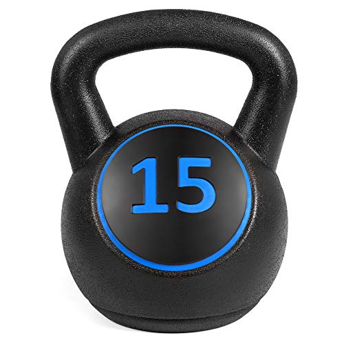 Best Choice Products 3-Piece HDPE Kettlebell Exercise Fitness Weight Set for Full Body Workout w/ 5lb, 10lb, 15lb Weights, Wide Grips, Base Rack - Black by Best Choice Products (Image #4)