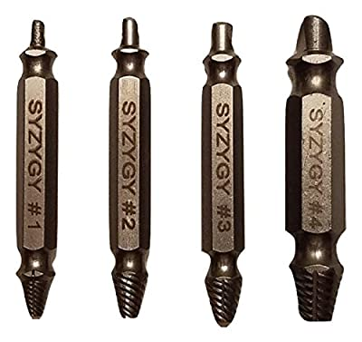 Damaged Screw Extractor and Remover Set of 4 by Syzygy With a Free Plastic Organizer.Remove Damaged Screws, Stripped Screws, and Broken Bolts In Seconds from Syzygy