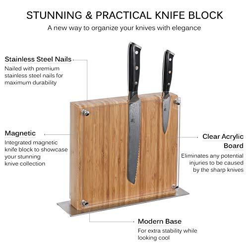 KYOKU Daimyo Series, 3-Piece Knife Block Set - Japanese VG10 Steel Damascus Blade - 8'' Chef Knife & 8'' Bread Knife & 3.5'' Paring Knife & Magnetic Bamboo Block    by KYOKU (Image #2)
