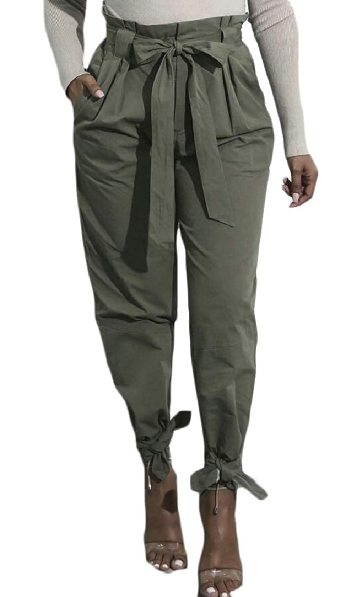 desolateness Women's Elastic Belted High Waist Trousers Long Pants with Pocket