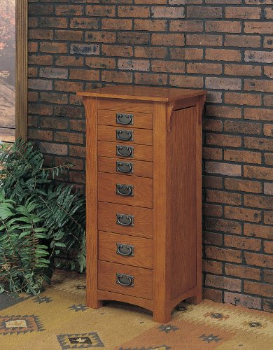Oak Mirror Jewelry Armoire - Powell Mission Oak Jewelry Armoire