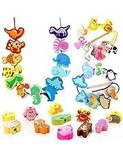 40 stuks houten kralen om te rijgen kralen rijgspel dier kralen houten kralen houten speelgoed motoriek speelgoed Montessori speelgoed educatief speelgoed geschenken voor kleine kinderen meisjes jongens 2 3 4 5 6 jaar