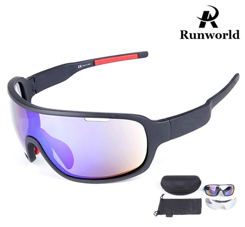 Runworld 偏光スポーツ サイクリング サングラス バイク 眼鏡 メンズ レディース ランニング ドライビング 釣り ゴルフ 野球 レーシング スキー ゴーグル  ブラック B07D6J44BK