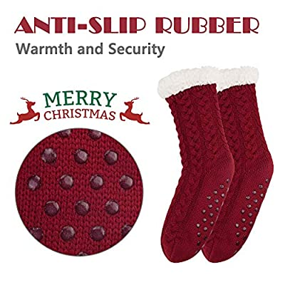 2 Pairs Women's Winter Fleece Lined Socks Super Soft Warm Cozy Fuzzy Christmas Slipper Socks With Grippers at Women's Clothing store