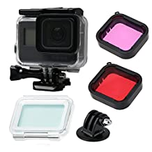 Gopro Hero 6/5 Accessories with Underwater Waterproof Housing Case and GoPro Filter (Red + purple)