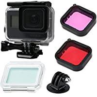 Gopro Hero 5 Accessories with Underwater Waterproof Dive Protective Housing Case Bracket and GoPro Filter (Red + purple)