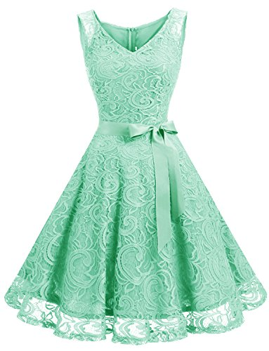 Dressystar DS0010 Women Floral Lace Bridesmaid Party Dress Short Prom Dress V Neck XXXL Mint