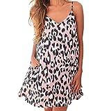 Sexy Women's Dresses Sale Teen Girls V-Neck Leopard Print Camisole Sleeveless Pocket Mini Dress Pink