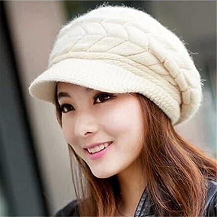 Amazon.com   Fall Winter Beanies Knitted Hats Rabbit Fur Cap Snapback Cap  Ladies Female Fashion Skullies Elegant Women Hat (White Color)   Everything  Else d0da3139498a