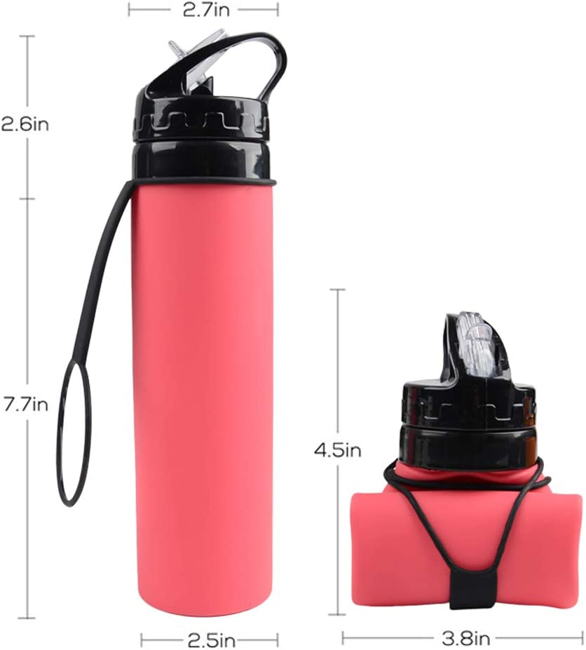 Collapsible Water Bottle BPA Free FDA Approved Food-Grade Silicone Portable Leak Proof Travel Mug for Outdoor Travel Sport Camping Hiking Bicycle