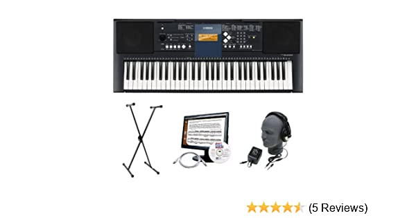 Amazon.com: Yamaha PSR-E333 Premium Keyboard Package with Headphones, Stand, Power Supply, 6-Feet USB Cable and eMedia Instructional Software: Musical ...