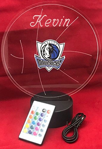 Dallas Beautiful Handmade Acrylic Personalized Mavericks NBA Basketball Light Up Light Lamp LED Lamp, Our Newest Feature - It's Wow, with Remote,16 Color Options, Dimmer, Free Engraved, Great Gift